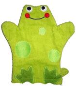 FROG Terry Cloth Bath Wash Cloth / Bathmitt / Bath Mitt / Green (Frog) Puppet