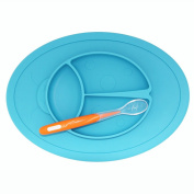 Silicone Baby Placemat-bowl Divided Suction Non-slip Plate for Kids Highchair Trays Toddlers Weaning Silicone Plate including Soft Silicone Spoon