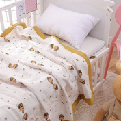J-pinno Baby Cute Bee Nursery Muslin Cotton Bed Quilt Blanket Crib Coverlet 110cm X 120cm