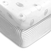 Cuddly Cubs Premium Jersey Crib Sheets, Extra Soft for a Sound Sleep and Gentle on Baby Skin! Fitted with Elastic All Around, NO Struggle to Get on the Mattress. Sheep & Stripes Pattern in Light Grey
