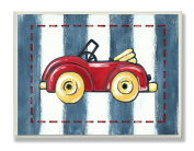 The Kids Room by Stupell Red Convertible on Blue Stripes Rectangle Wall Plaque