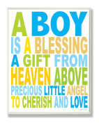The Kids Room by Stupell A Boy is a Blessing Typography Rectangle Wall Plaque