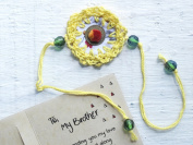 Raksha Bandhan Rakhi With Greeting Card Yellow Crochet Traditional Design Crystal Pompom Decorated With Satin Thread