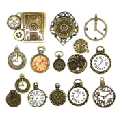 20pcs Mixed Antiqued Bronze Charms Clock Face Charm Pendant, DIY Crafts, Gears, Jewellery Making, Steampunk Pendants