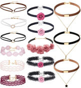 Tpocean 14 PCS Double Layer Lace Velvet Choker Set Necklace Leather Pink Floral Choker for Women Girls Teens Party Choker Jewellery Set Gifts