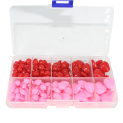 BESTCYC 130pcs 8/9/10/15/16mm Pink and Red Plastic Safety Nose D-shape Craft Nose for Doll Teddy Puppet Making