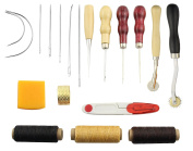 Obecome 13Pcs Leather Craft Tools,Craft Leather DIY Hand Stitching Sewing Tool Set Including Thread Awl Waxed Thimble Kit