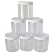 240ml Slime Storage Favour Jars (6 pack) with labels - Clear empty wide-mouth plastic containers with white lids for DIY slime making