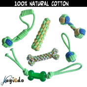Magicdo Pet Rope Toy 6a Pcs 1 Set, Pet Rope bone Toys, Dog Durable Cotton Chew bone Toys, Puppy Teething Toys, Variety Pet Toy Set, Colourful Durable Pet Toy For Medium and Large Dogs