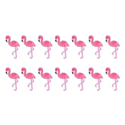 Souarts Mixed Flamingo Birds Embroidered Sew Iron On Applique Patches Set for Decoration 14pcs