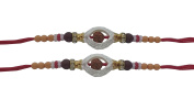 Set of Two Rakhi, Oval Shape White Ring Rudrakhsa Rakhi thread, Raksha bandhan Gift for your Brother, Red Colour Thread.