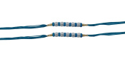 Set of Two Rakhi, 5 White Beed with Rings Thread. Rakhi, Raksha Bandhan Gift for your Brother, Blue Colour Thread.