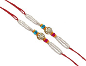 Set of Two Rakhi, Stone & Moti, Thread. Rakhi, Raksha Bandhan Gift for your Brother, Vary Colour