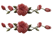 Lot 2 Pcs Pink Rose Flower Embroidery Iron On Applique Patch.