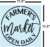 Farmhouse Farmers Market Open Daily Stencil for Painting Country Wood Signs - Reusable Plastic