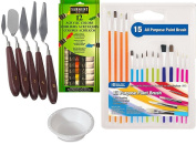 Paint set with 12 Colour Acrylic Paints for Painting Trowels art supply starter kit Artist Metal Palette Knife tool Kit / Paint Brush Set + Water Cup