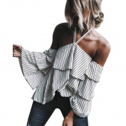Womens Sexy Hanging Neck Off Shoulder Stacked T Shirt, Ladies Casual Striped Tops Blouse by XILALU
