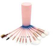 12pcs Makeup Brushes Set Powder Blush Contour Brush Cosmetic Beauty Tools Pink Gradient Colour with Cylinder Case