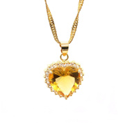 LOVE STUDIO,Women Fashion Pendant Fashionable Wild Cubic Zirconia Love Heart Pendant Flower Heart with Necklace 18K Gold Plated