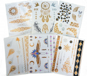 6 Premium Sheets Stunning Metallic Flash Temporary Tattoos - 150+ Shimmer Designs in Gold, Silver, Black - Temporary Fake Jewellery Tattoos - Bracelets, Feathers, Wrist & Arm Bands