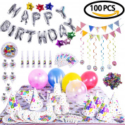 Birthday Party Decoration Children's Theme Assorted Set - Silver Letter Star & Colourful Balloons, Confetti, Banner, Cup, Tablecloth, Napkin, Plates, Flags, Trumpets 100PCs
