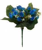 Mini Rose Bush ROYAL BLUE 21 Roses Silk Wedding Flowers Bouquets Centrepieces