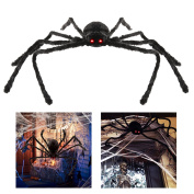 Tinksky 120cm Black Realistic Fake Plush Spider Puppet Prank Jokes Toy Made Of Wire and Plush Halloween Props Spider Funny Toy For Party or Bar KTV Halloween Decoration