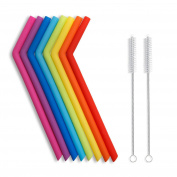 Hiware Reusable Silicone Drinking Straws, Extra long Flexible Straws with Cleaning Brushes for 890ml Tumblers RTIC/Yeti - 10 Pieces - Bpa-free - No Rubber Tast