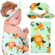 Baby Swaddle Blanket Wraps With Headband, Newborn Receiving Blankets, Green Flower
