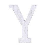 "Adeco Wooden Hanging Wall Letters ""Y"" - White Decorative Wall Letter of Living Room, Baby Name and Bedroom Décor, Whitewash"