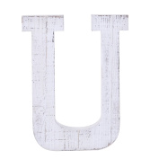 "Adeco Wooden Hanging Wall Letters ""U"" - White Decorative Wall Letter of Living Room, Baby Name and Bedroom Décor, Whitewash"