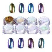 8 colours Unicorn Chrome Nail Powders holographic Shining Dust , Mumustar UV Gel Nail Tips Mirror Glitters mermaid Manicure Nail Art Beauty Design