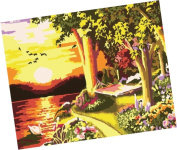 Wowdecor Paint by Numbers Kits for Adults Kids, Number Painting - Sunset Scenery 41cm x 50cm