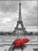 TianMai Hot New DIY 5D Diamond Painting Kit Crystals Diamond Embroidery Rhinestone Painting Pasted Paint By Number Kits Stitch Craft Kit Home Decor Wall Sticker - Eiffel Tower and Red Umbrella