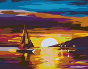 CaptainCrafts New Paint by Number Kits - Sunset Boat 41cm x 50cm Frameless - Diy Painting by Numbers for Adults Beginner Kids