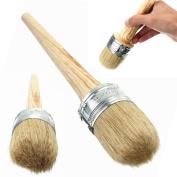 BinaryABC Round Chalk Paint Brush,Wax Brush for Furniture, Wooden Handle,50mm