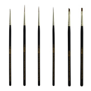 Green Synthetic Sable Detail Brush Set Sizes Long Liners 20/0,10/0,5/0 Mini Liner 5/0, Angle 0.3cm , Shader 2