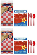 Party Essentials Heavy Duty Table Covers and Cutlery; Bundled by Oasis Mercantile