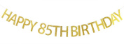 Happy 85th Birthday Banner Gold Glitter Party Bunting - 85th Birthday Party Decorations Supplies
