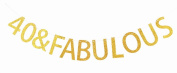 Happy 40th Birthday Banner Gold Glitter Party Bunting - 45th Birthday Party Decorations Supplies