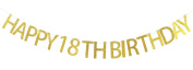 Happy 18th Birthday Banner Gold Glitter Party Bunting - 18th Birthday Party Decorations Supplies