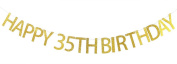 Happy 35th Birthday Banner Gold Glitter Party Bunting - 35th Birthday Party Decorations Supplies