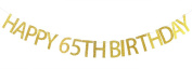 Happy 65th Birthday Banner Gold Glitter Party Bunting - 65th Birthday Party Decorations Supplies