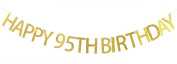 Happy 95th Birthday Banner Gold Glitter Party Bunting - 95th Birthday Party Decorations Supplies