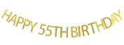 Happy 55th Birthday Banner Gold Glitter Party Bunting - 55th Birthday Party Decorations Supplies