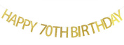 Happy 70th Birthday Banner Gold Glitter Party Bunting - 70th Birthday Party Decorations Supplies