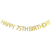 Happy 75th Birthday Banner Gold Glitter Party Bunting - 75th Birthday Party Decorations Supplies