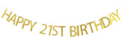 Happy 21st Birthday Banner Gold Glitter Party Bunting - 21st Birthday Party Decorations Supplies