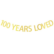 100 YEARS LOVED Gold Glitter Banner for 100th Birthday, Wedding Anniversary Party Bunting Photo Props Decorations