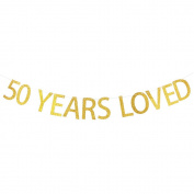 50 YEARS LOVED Gold Glitter Banner for 50th Birthday, Wedding Anniversary Party Bunting Photo Props Decorations